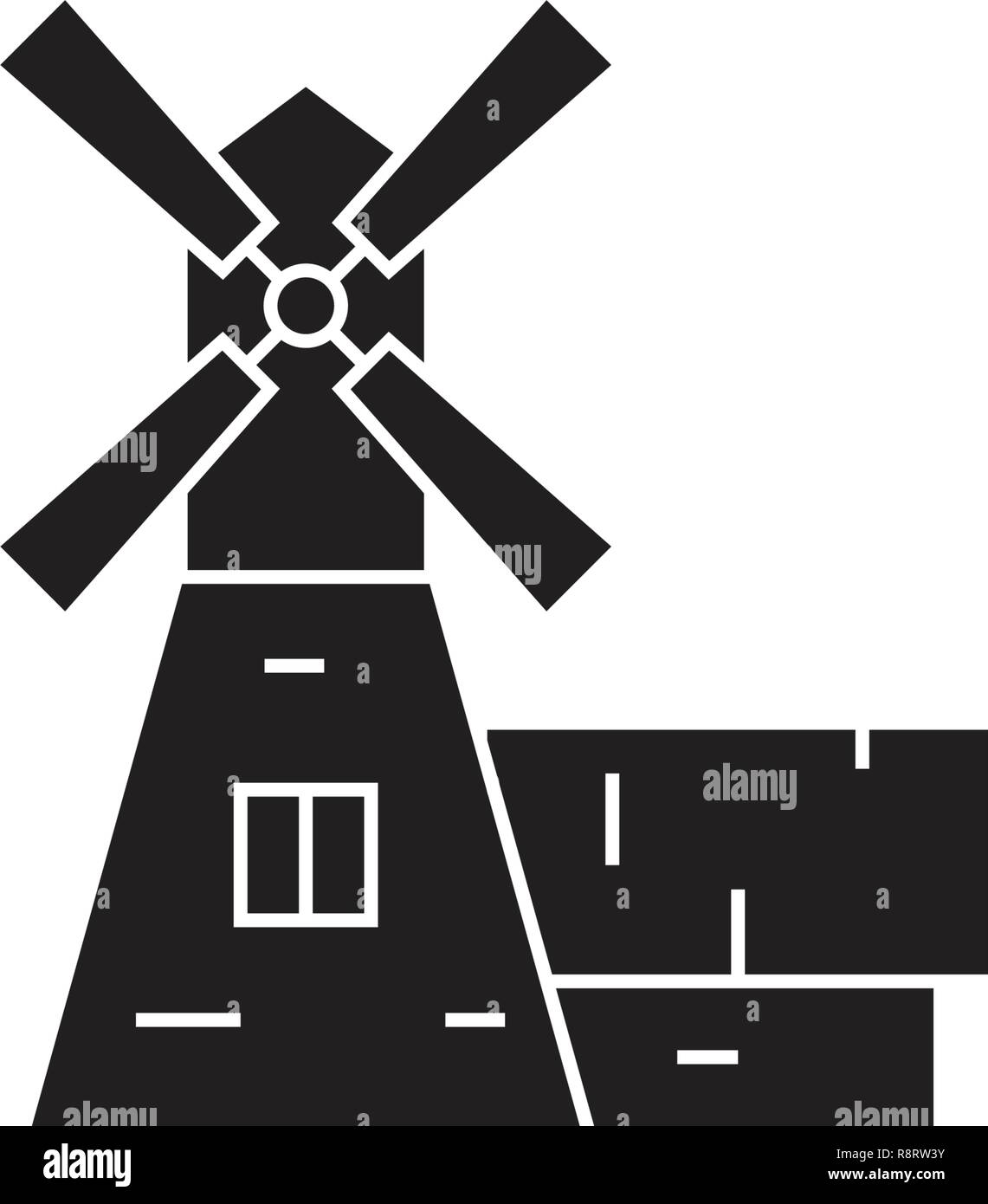 Windmill house black vector concept icon. Windmill house flat illustration, sign - Stock Vector