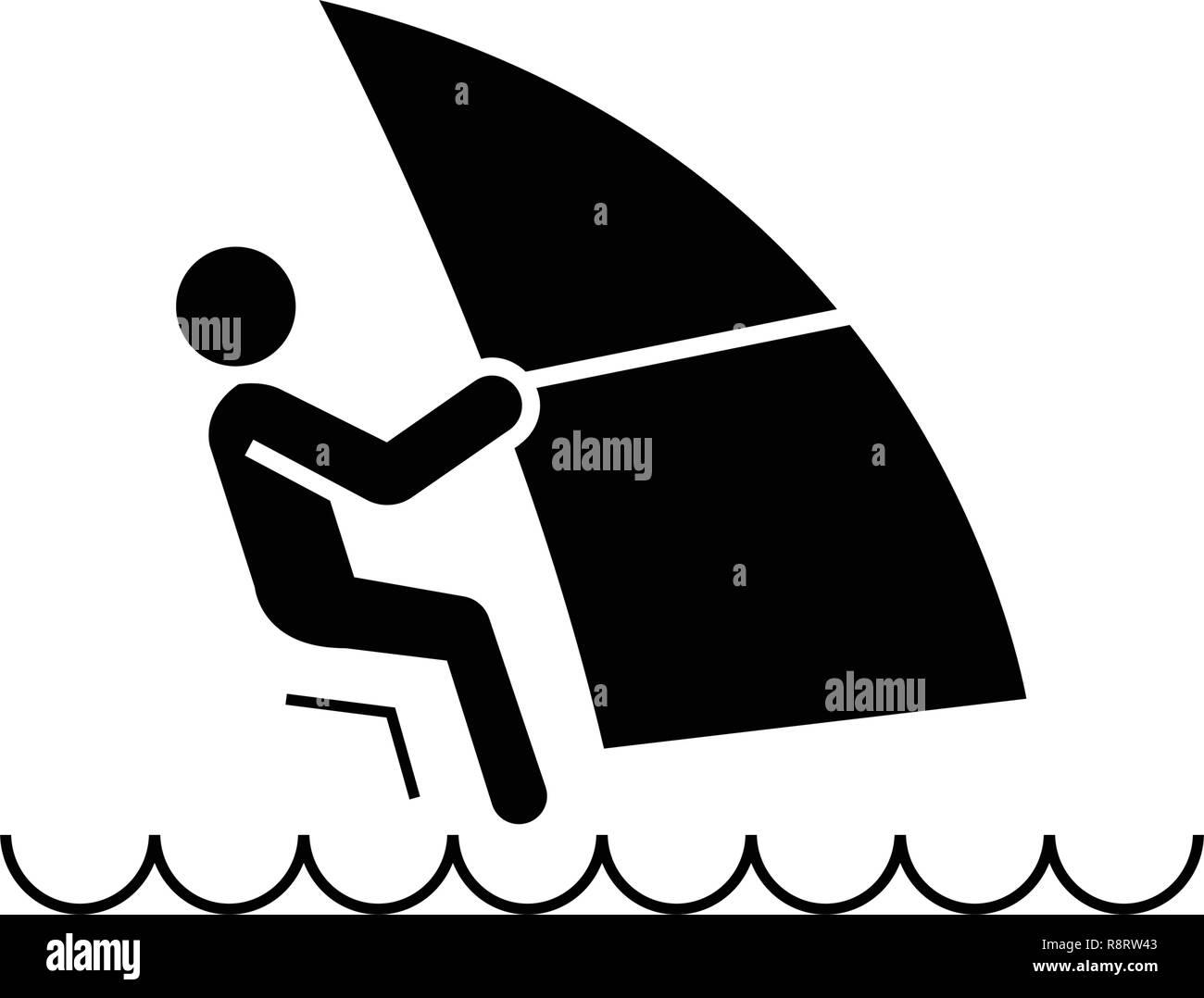 Windsurfing black vector concept icon. Windsurfing flat illustration, sign - Stock Image
