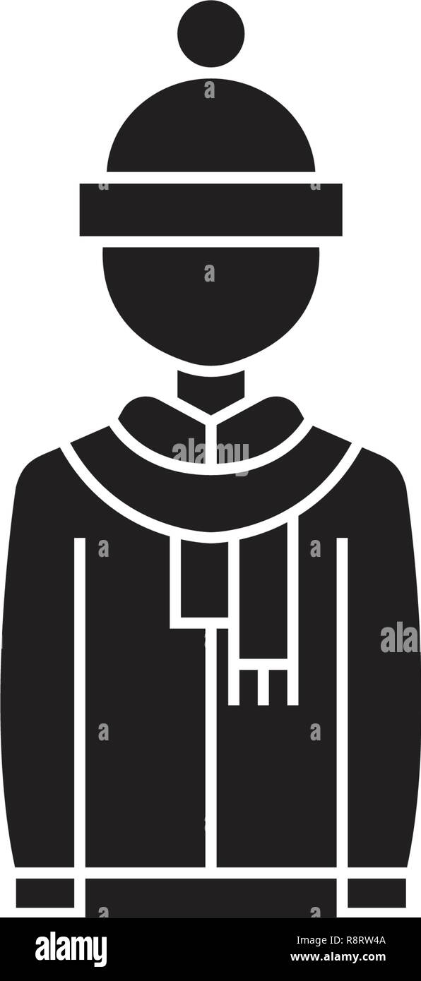 a94dcf13349 Winter clothing black vector concept icon. Winter clothing flat illustration,  sign