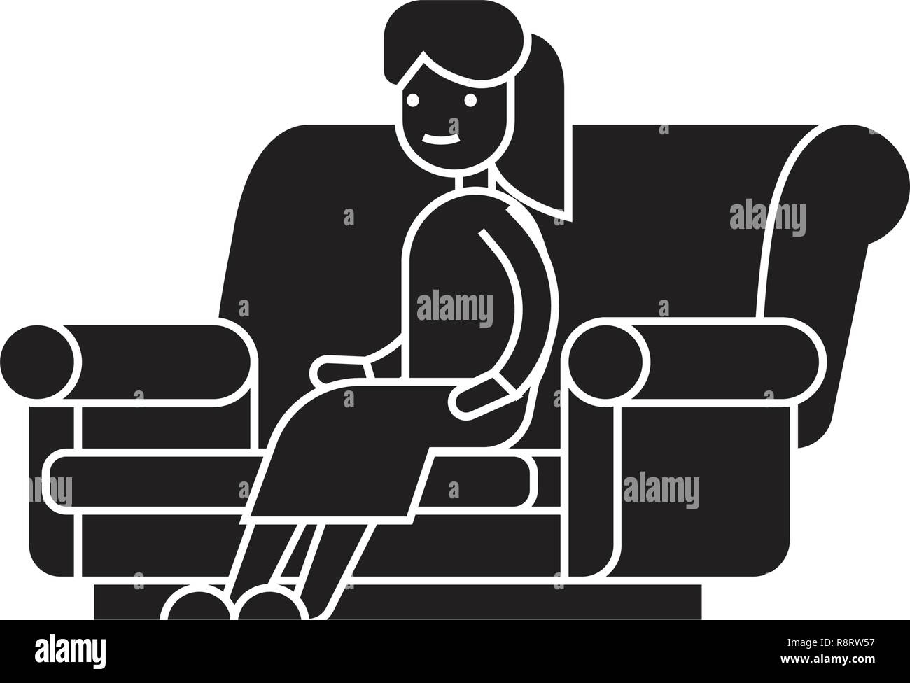 Woman sitting on the sofa black vector concept icon. Woman sitting on the sofa flat illustration, sign - Stock Vector