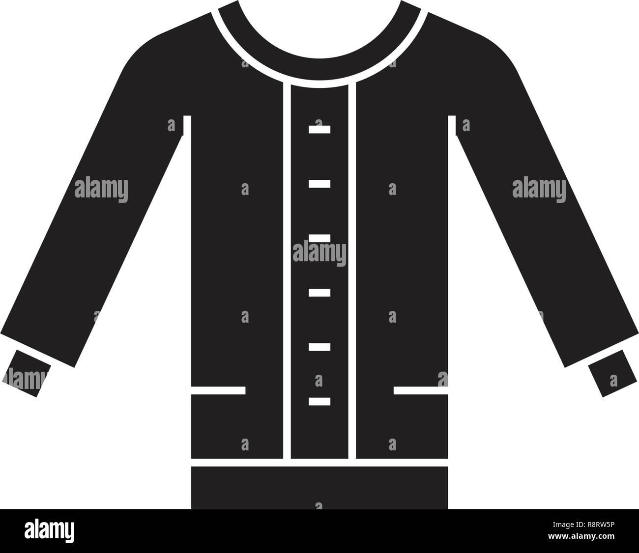 de9b282aa82 Women sweater black vector concept icon. Women sweater flat illustration,  sign