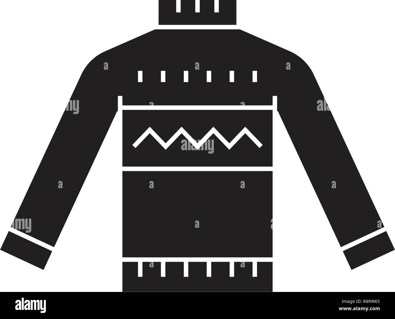 Wool sweater black vector concept icon. Wool sweater flat illustration, sign Stock Vector