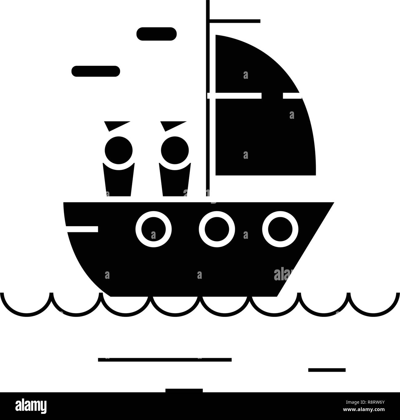 Yacht sailing black vector concept icon. Yacht sailing flat illustration, sign - Stock Image