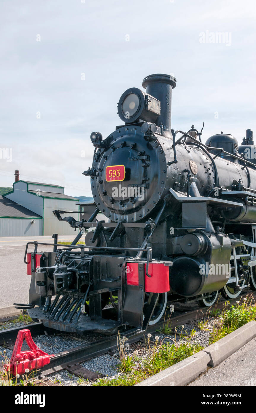 Baldwin steam locomotive 593 known as the Newfie Bullet preserved in Corner Brook, Newfoundland. - Stock Image