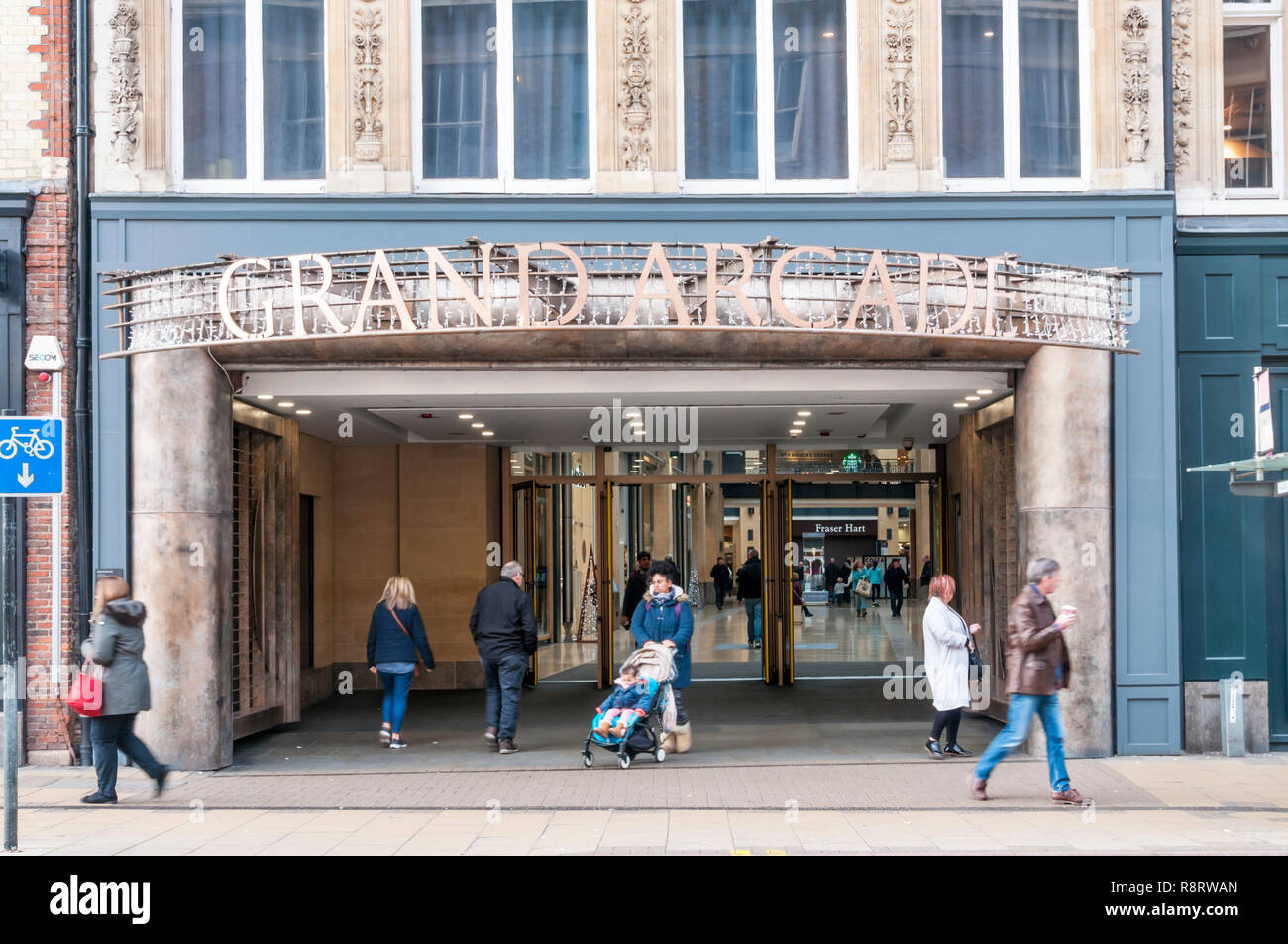 The entrance to the Grand Arcade, Cambridge. - Stock Image