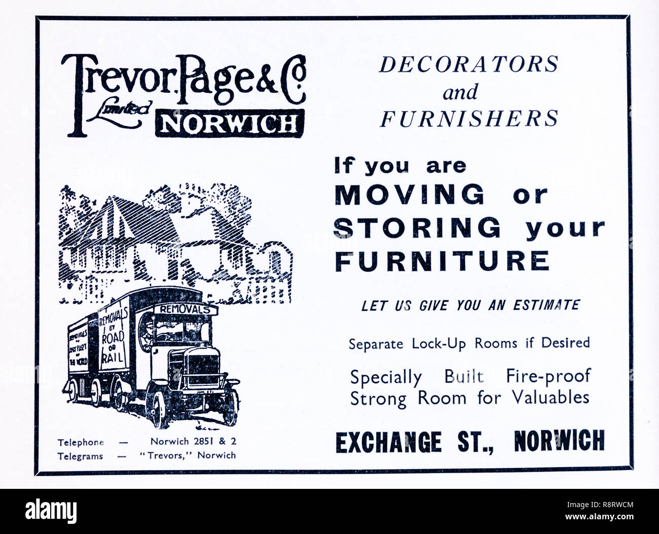 A 1930s advertisement for a furniture removal company, Trevor Page & Co of Norwich. Stock Photo