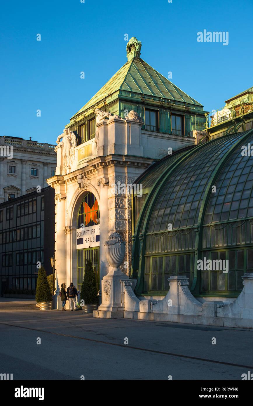 The Palmenhaus in the Burggarten formal gardens in Vienna, Austria. - Stock Image