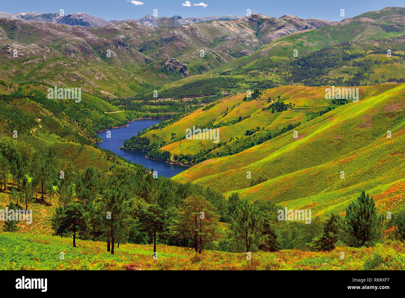 View of splendid landscape with green hills surrounding blue lake with high mountain pics in the background - Stock Image