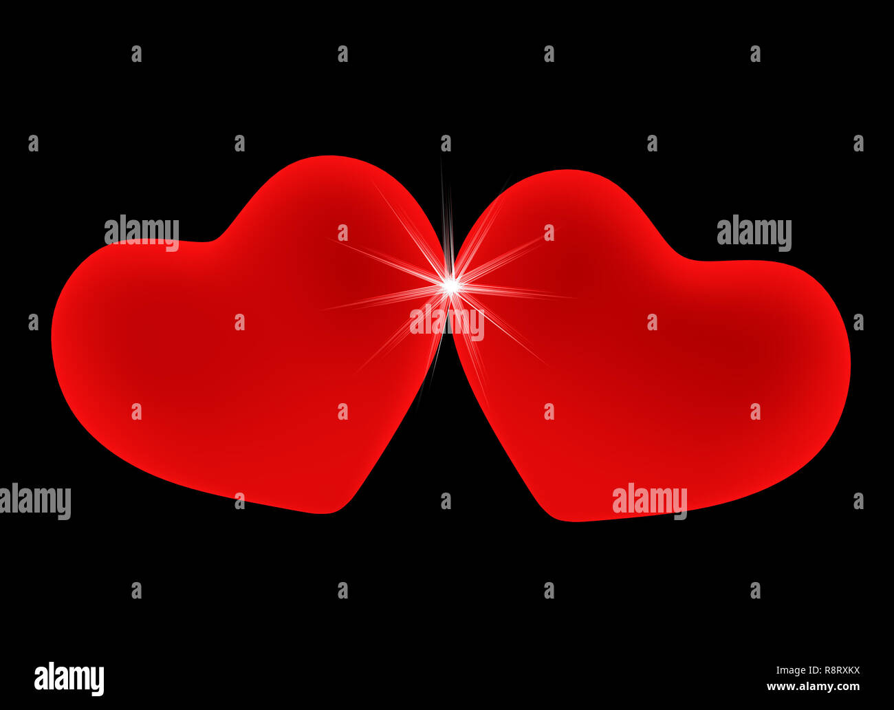 Two red hearts, leant to each other - Stock Image