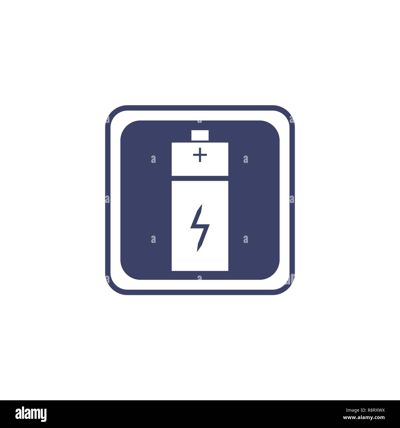Battery icon or logo in flat style isolated on a white background - Stock Image