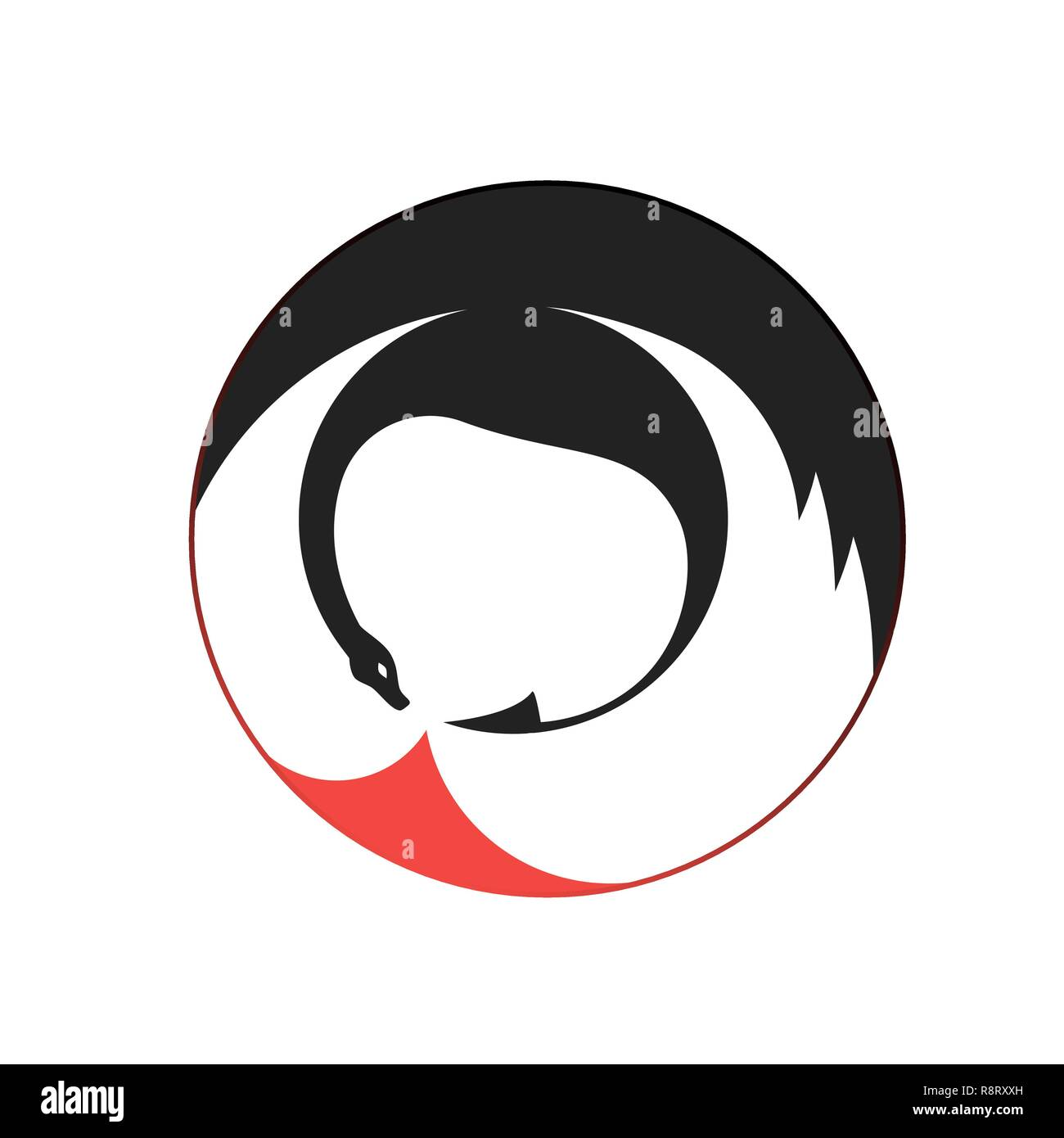Black fire-breathing dragon. Vector round icon - Stock Image