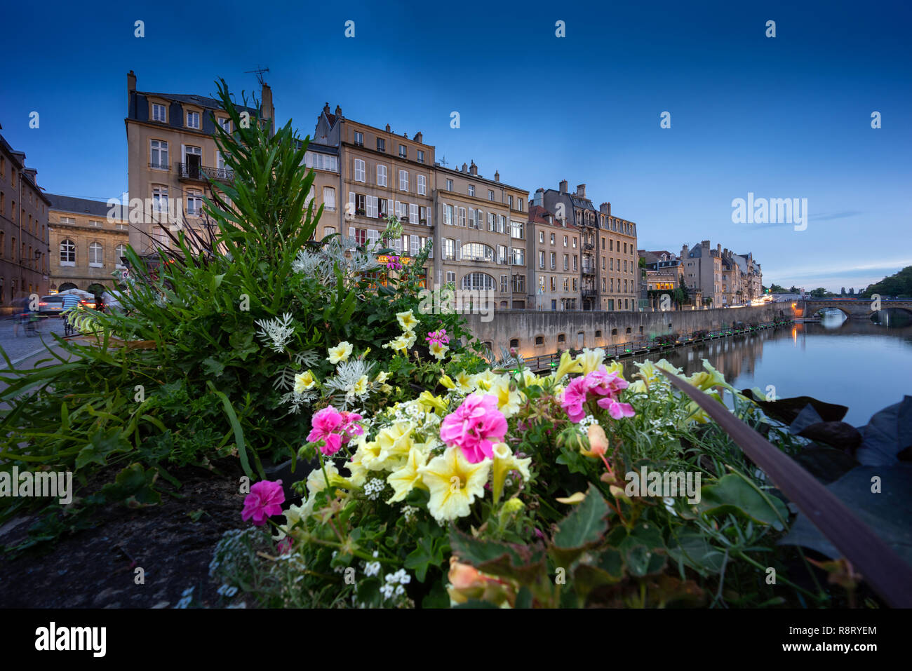 Metz France city by the blue hour. Stock Photo