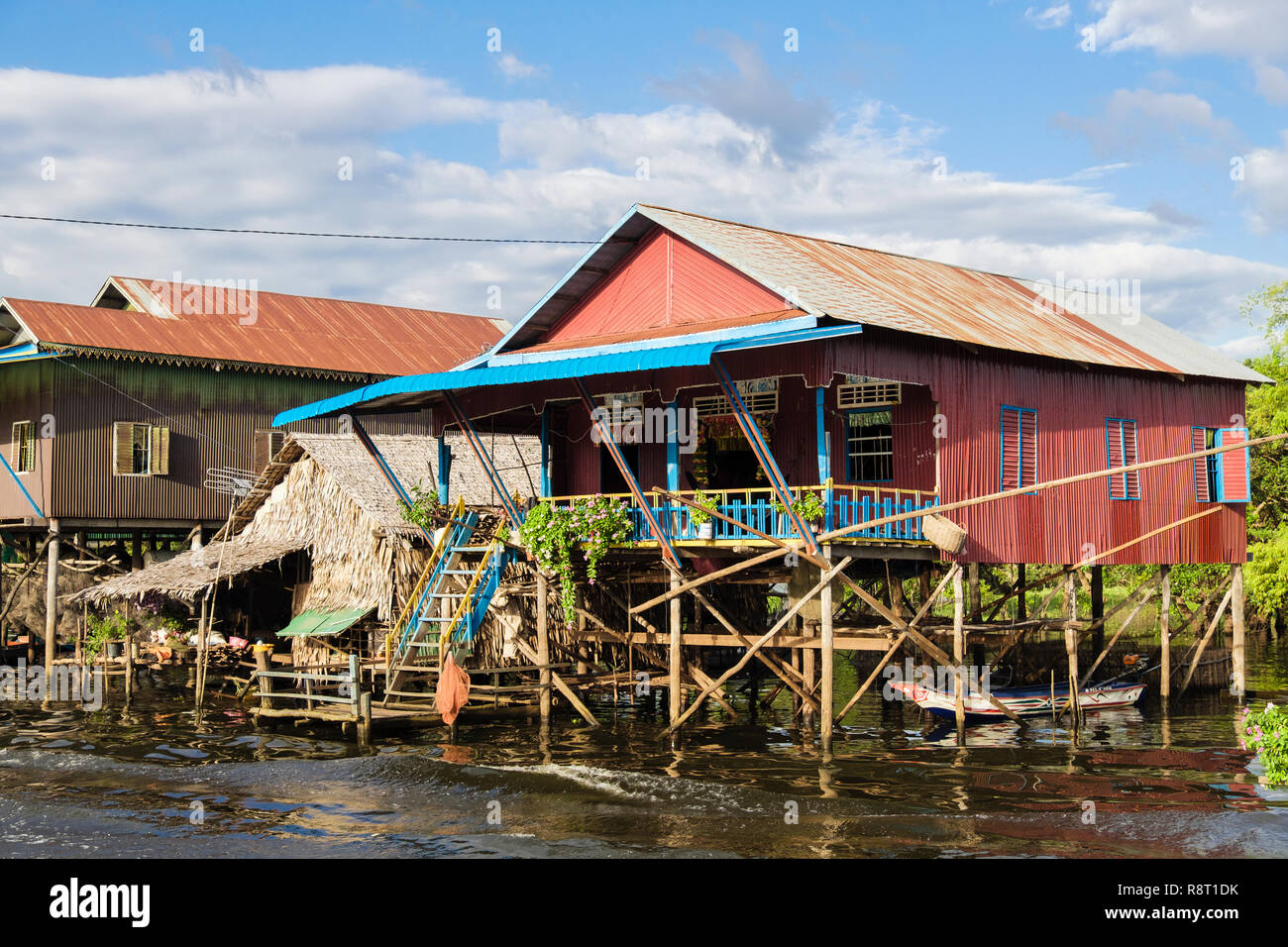 Houses on stilts in floating village in Tonle Sap freshwater lake. Kampong Phluk, Siem Reap, Cambodia, Indochina, southeast Asia Stock Photo
