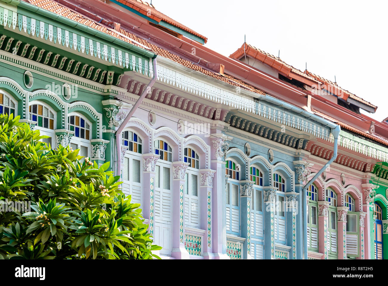 Architecture details of Koon Seng Road pastel hue traditional Paranakan shophouses, Katong, Singapore Stock Photo
