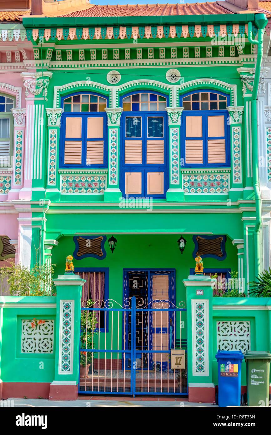 Architecture details of Koon Seng Road pastel hue traditional Paranakan shophouses, Katong, Singapore - Stock Image