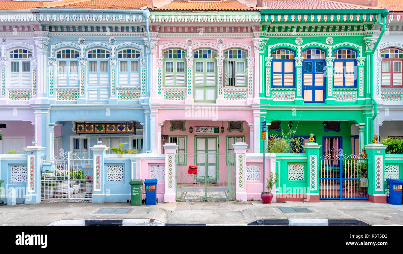 Architecture details of Koon Seng Road pastel hue traditional Paranakan shophouses, Katong, Singapore - Stock Image
