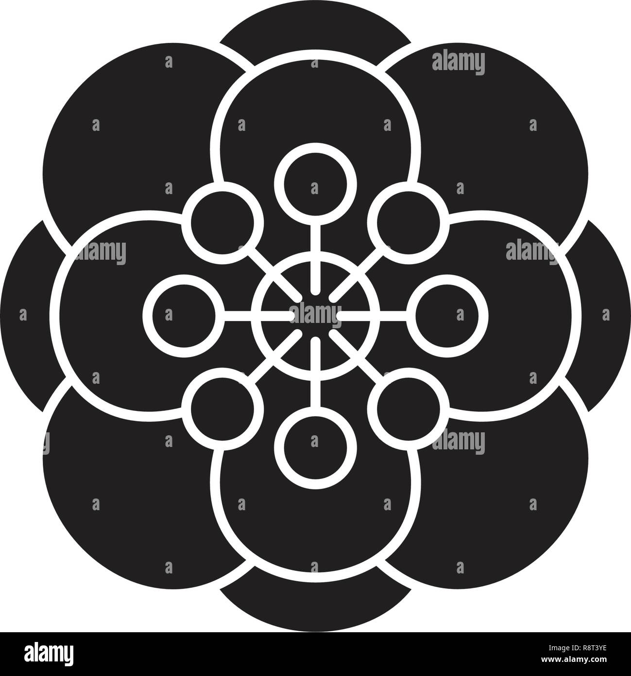 Anemone black vector concept icon. Anemone flat illustration, sign - Stock Vector