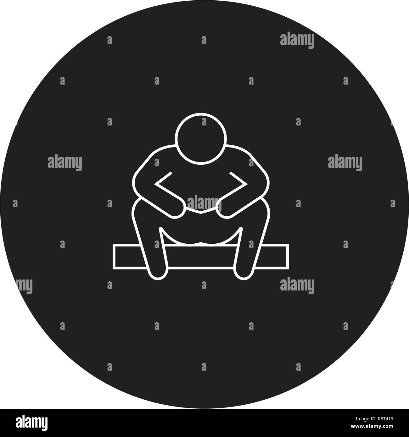 Anxiety disorder black vector concept icon. Anxiety disorder flat illustration, sign - Stock Vector