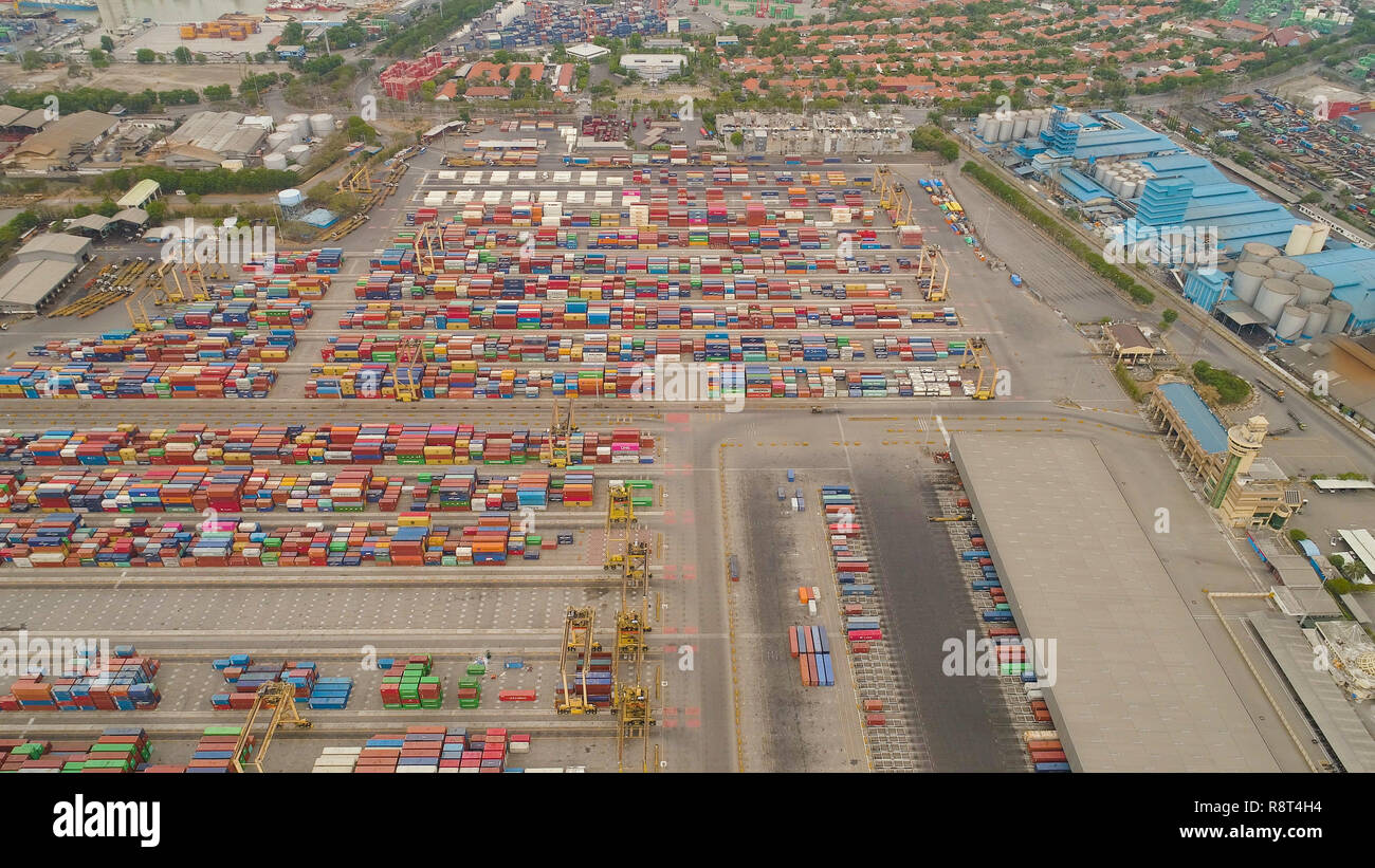 aerial view container terminal port surabaya. cargo industrial port with containers, crane. Tanjung Perak, indonesia. logistic import export and transport industry - Stock Image