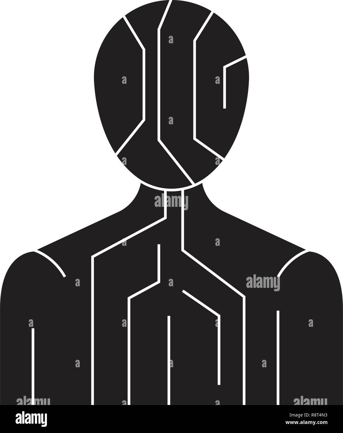 Body digital structure black vector concept icon. Body digital structure flat illustration, sign Stock Vector