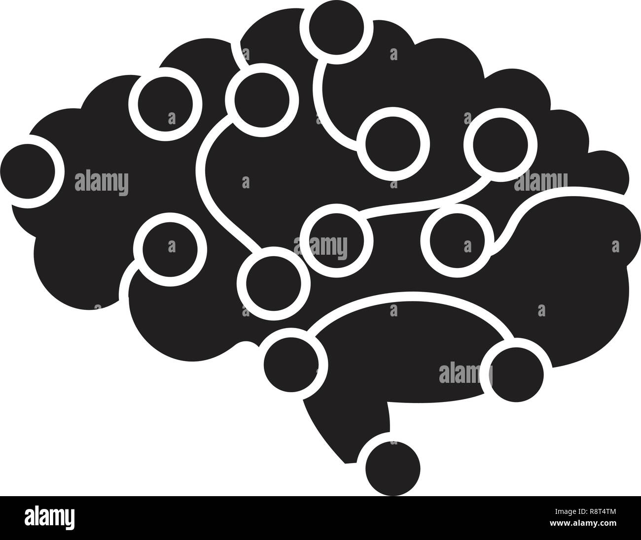 Brain power black vector concept icon. Brain power flat illustration, sign - Stock Image