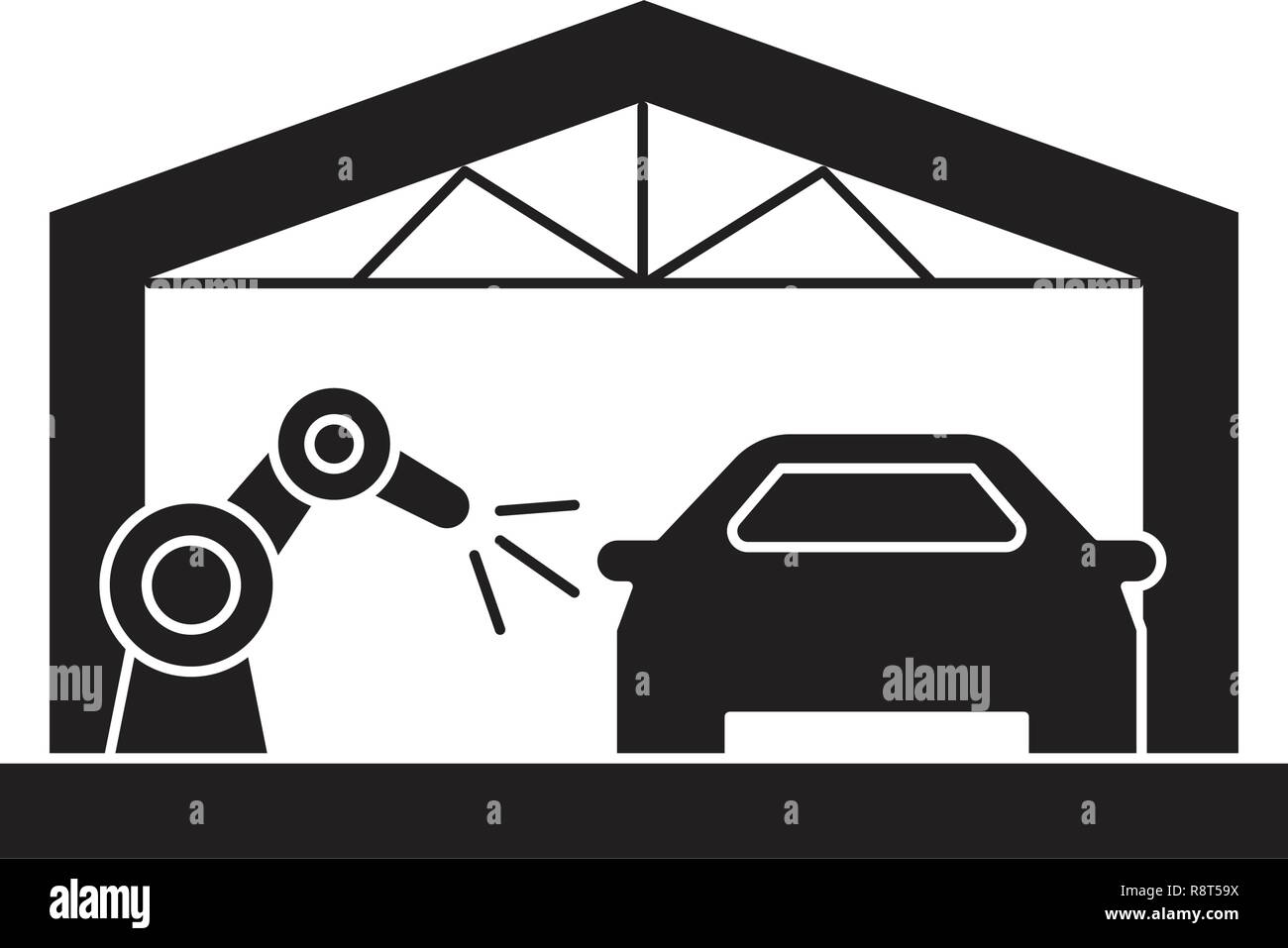 Car Assembly Line Black Vector Concept Icon Car Assembly Line Flat