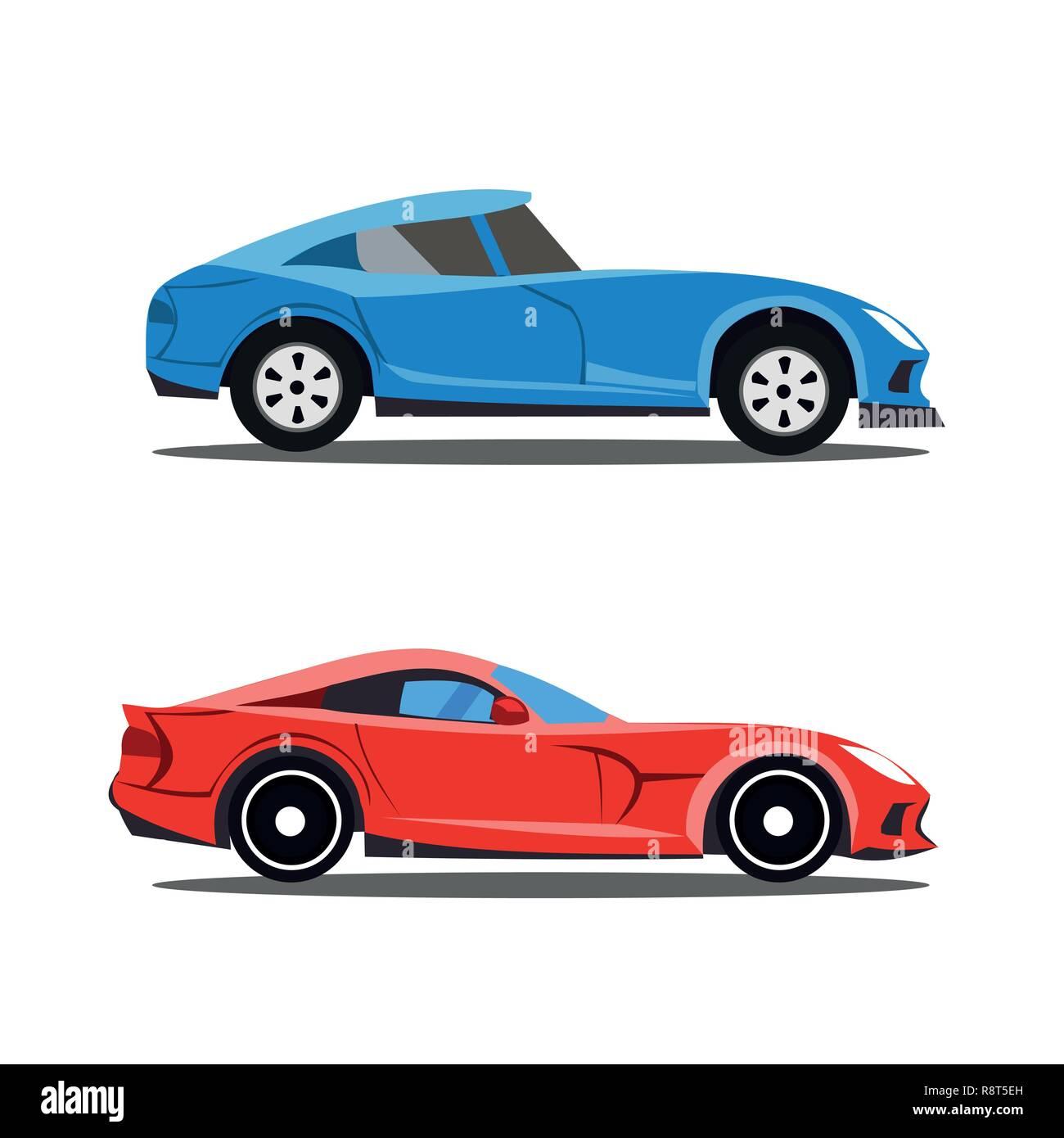 Model of profile cars, car cartoon designs in profile view - Stock Image