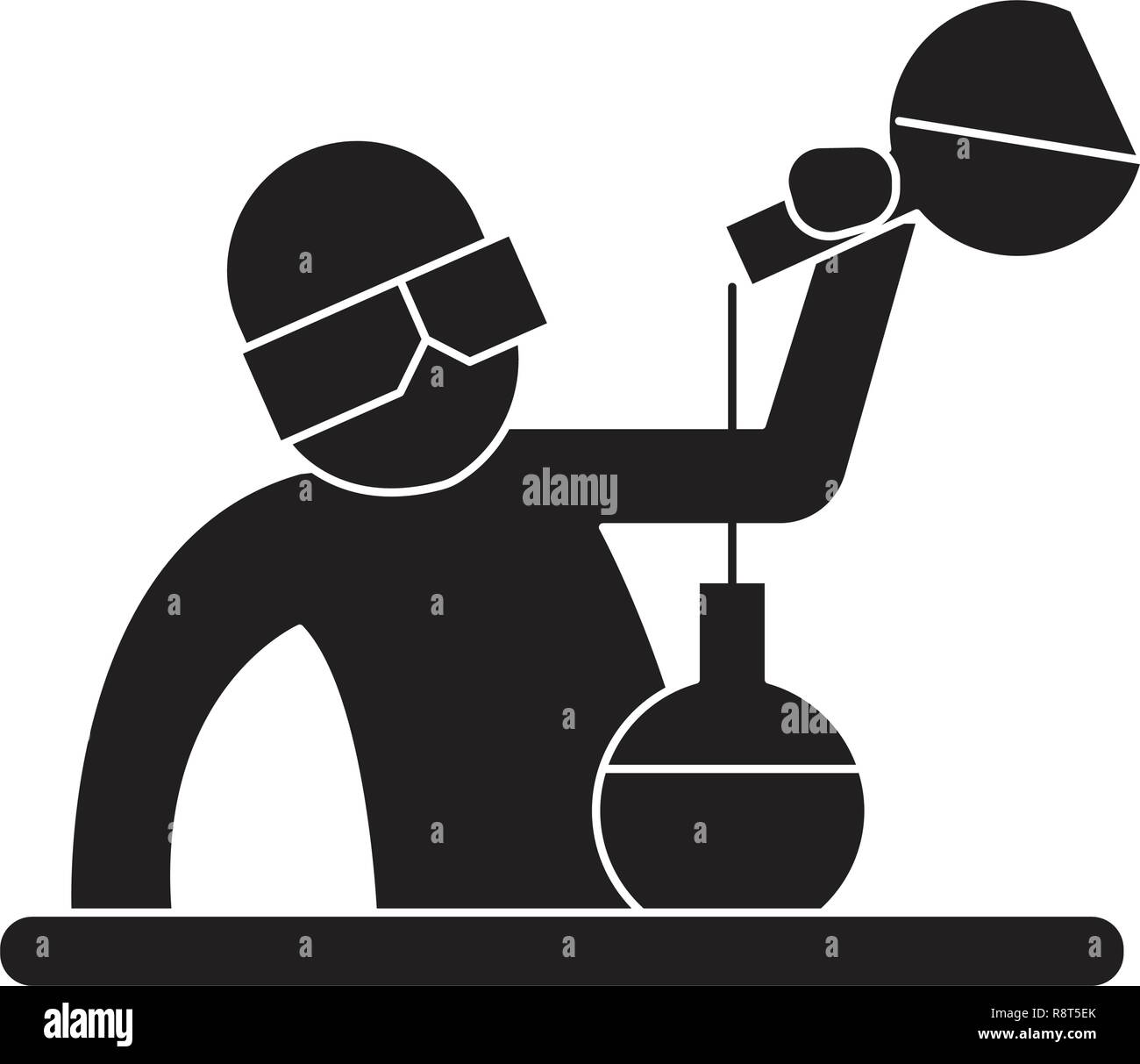 Chemist at work black vector concept icon. Chemist at work flat illustration, sign - Stock Vector