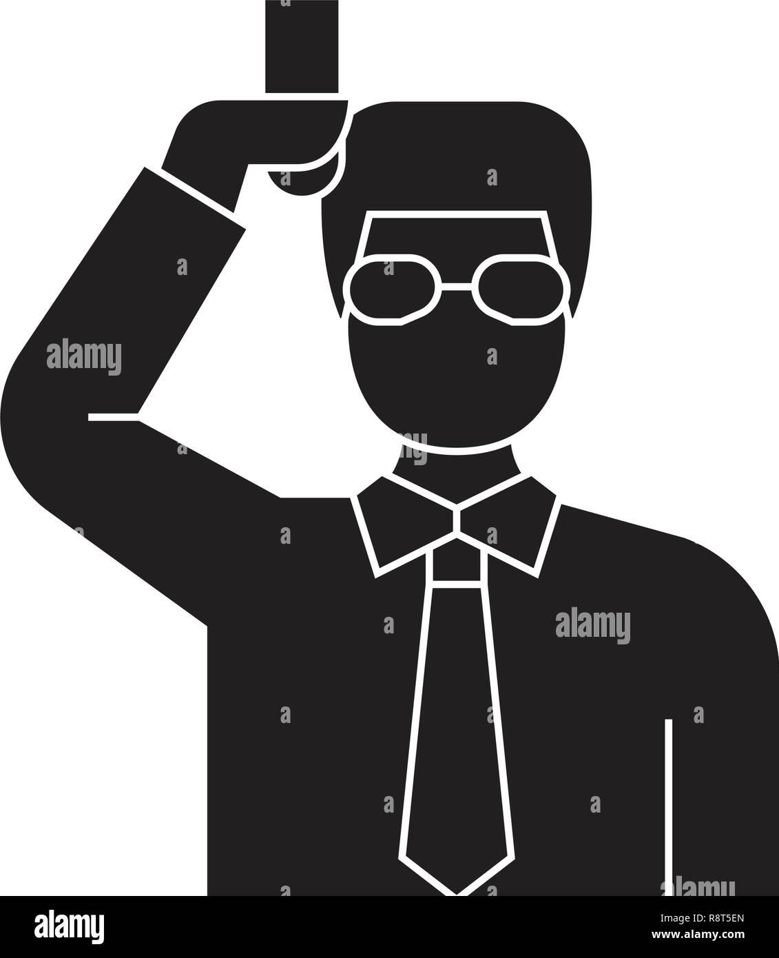 Chemist scientist black vector concept icon. Chemist scientist flat illustration, sign - Stock Vector