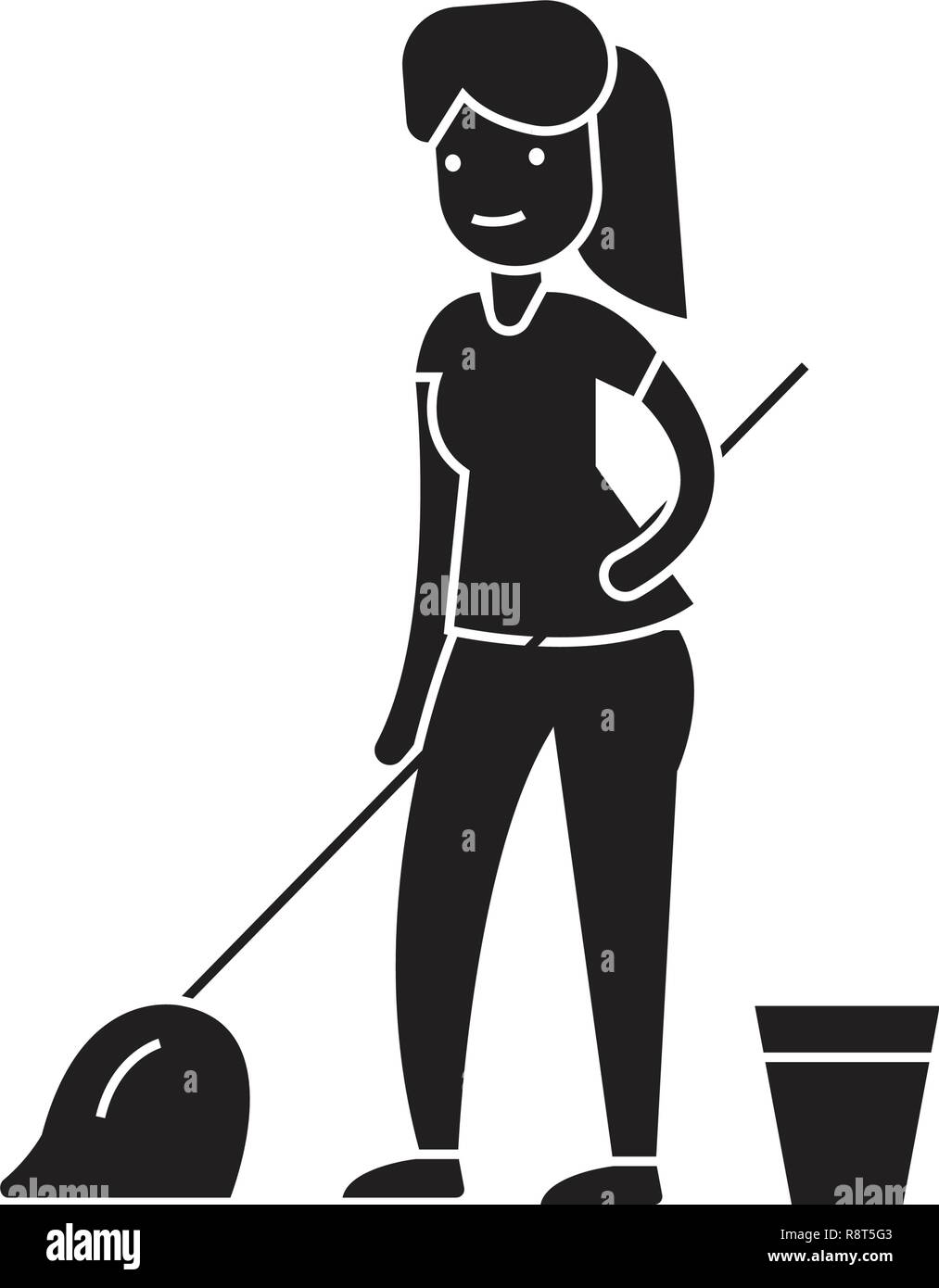 Cleaning with a mop black vector concept icon. Cleaning with a mop flat illustration, sign - Stock Vector
