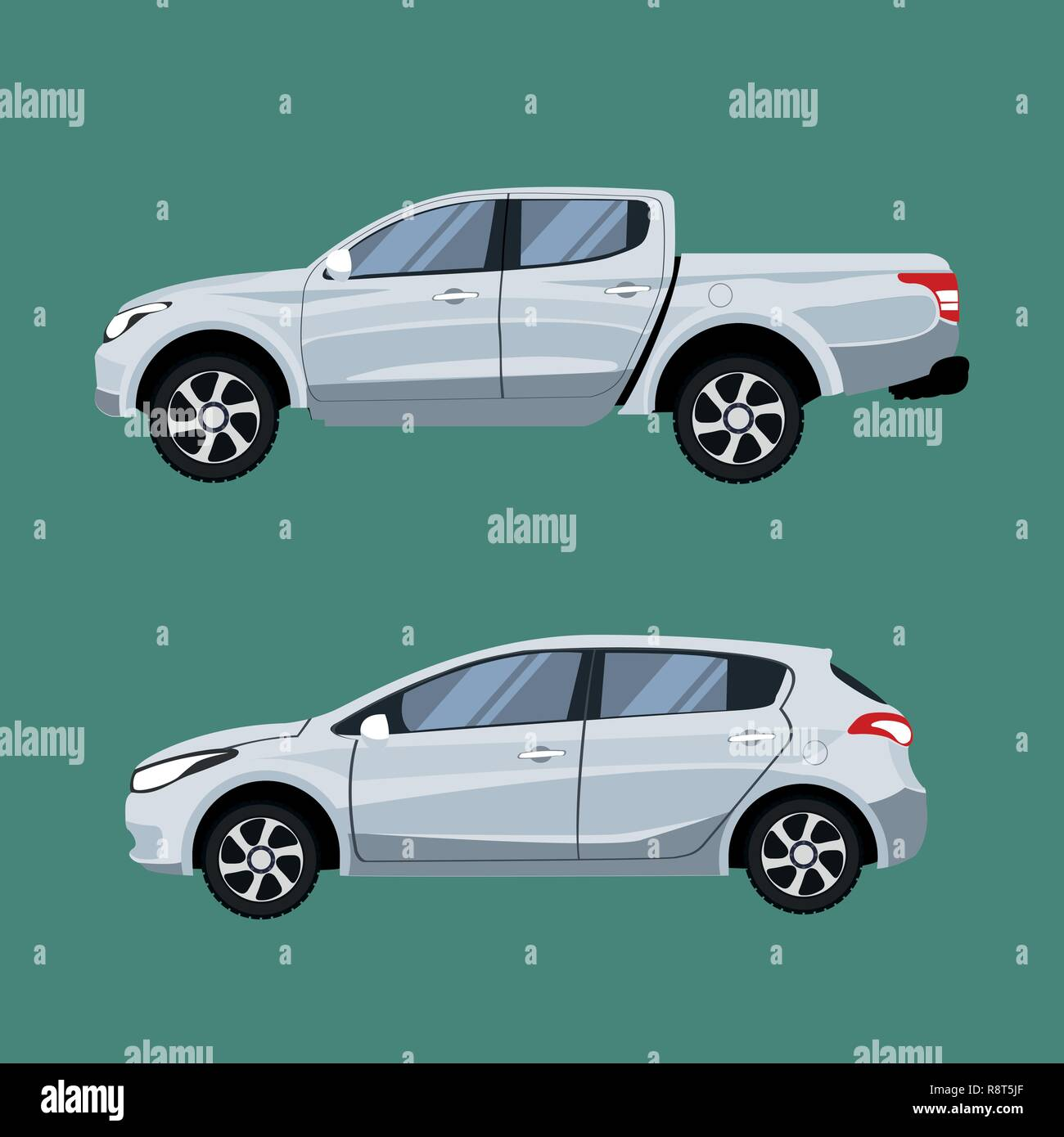 Set of vehicles pickup truck and Hatchback in side view. - Stock Image