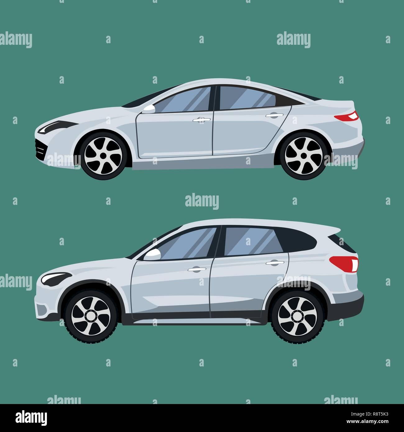 Set of vehicles suv and sedan in side view. - Stock Vector