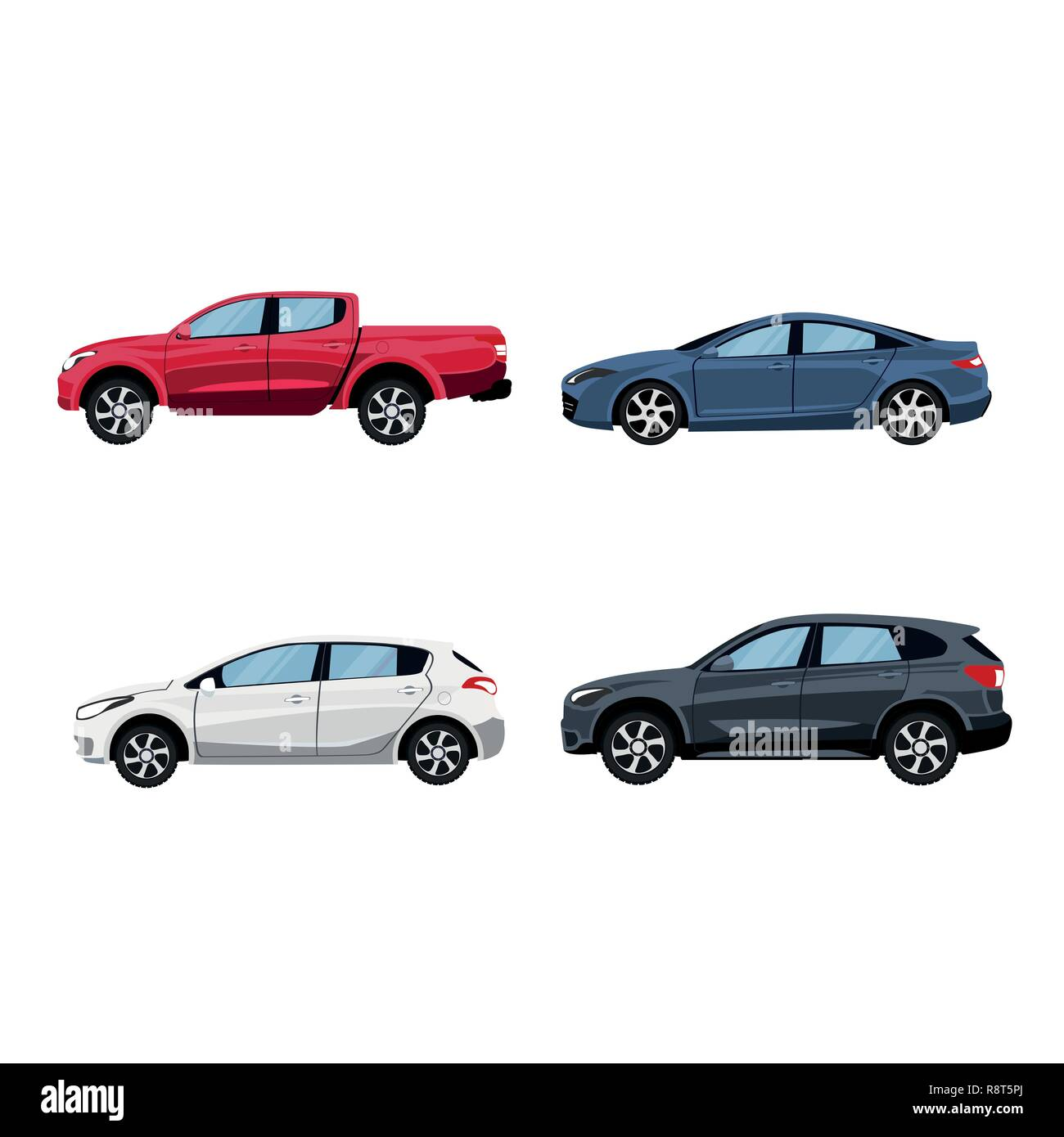 Set of vehicles pickup truck, Hatchback, suv and sedan in side view. - Stock Image