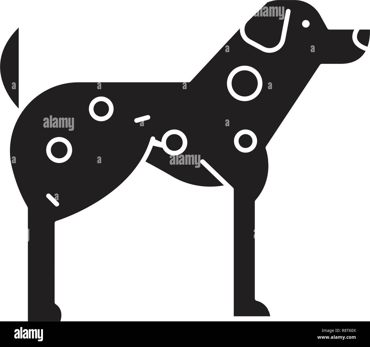 Dalmatian  black vector concept icon. Dalmatian  flat illustration, sign - Stock Vector