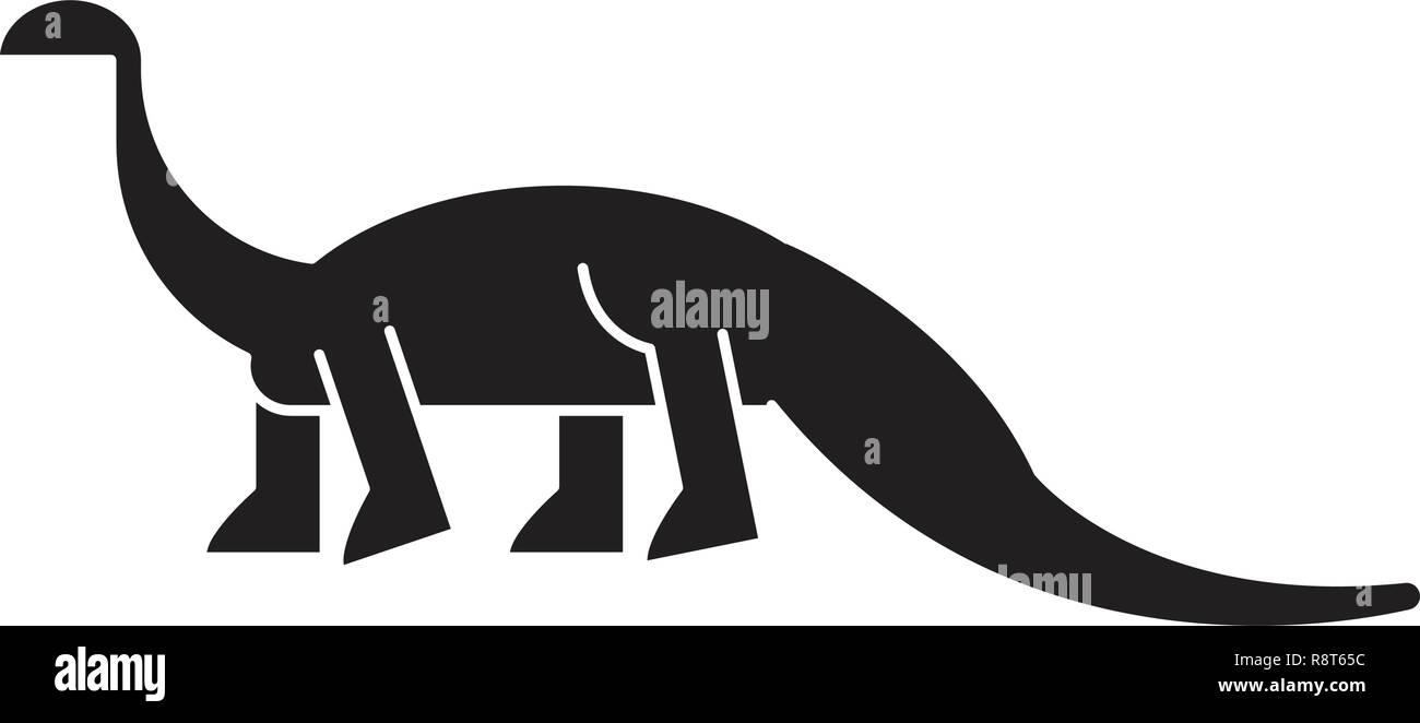 Diplodocus black vector concept icon. Diplodocus flat illustration, sign Stock Vector