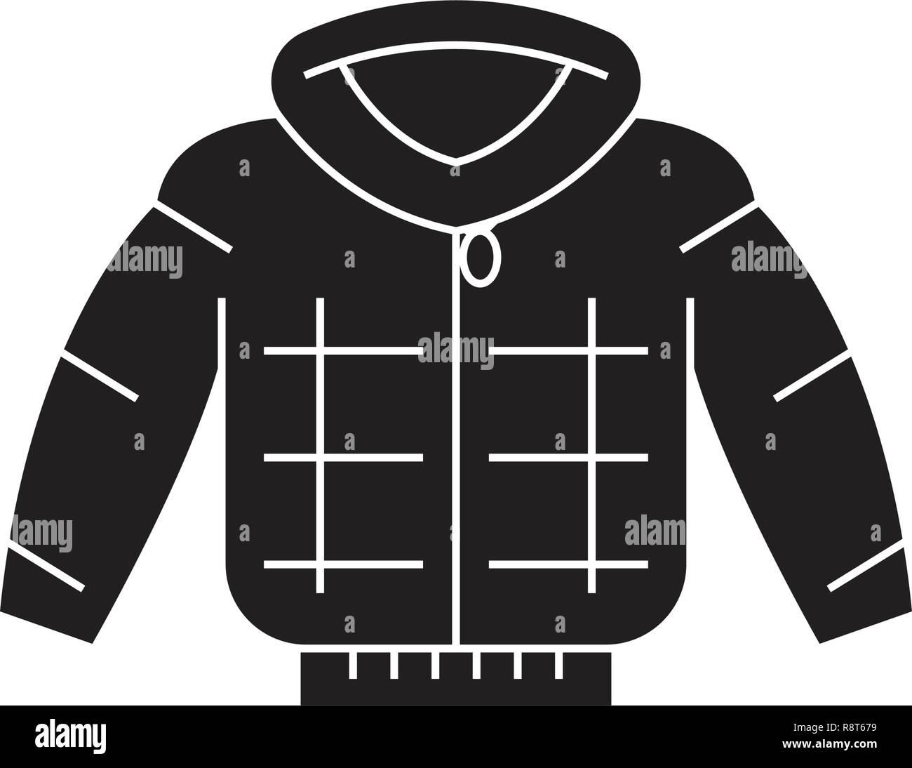 2f478d20c48 Down jacket black vector concept icon. Down jacket flat illustration, sign