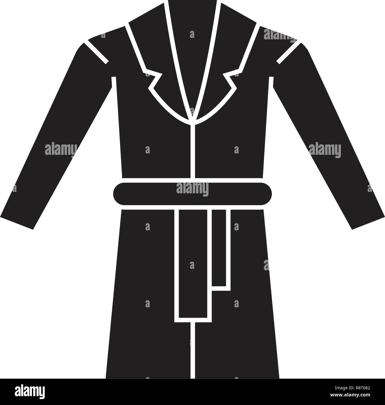 Dressing gown black vector concept icon. Dressing gown flat illustration, sign - Stock Vector