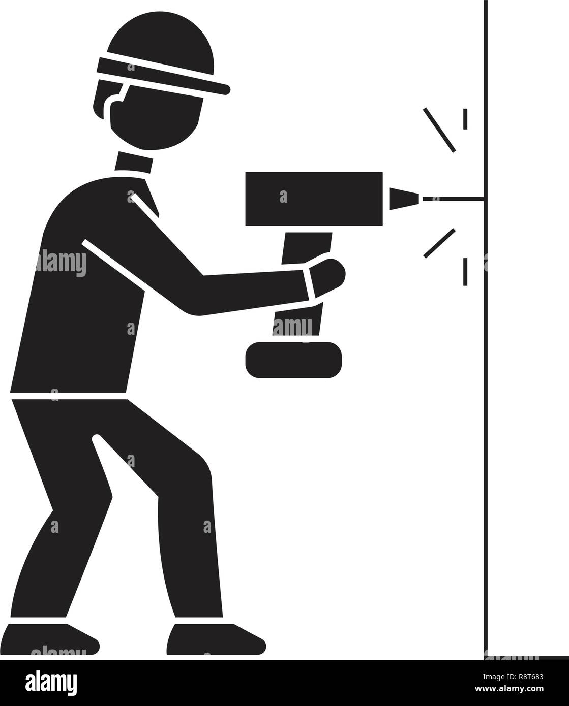 Drilling a hole in wall black vector concept icon. Drilling a hole in wall flat illustration, sign - Stock Vector