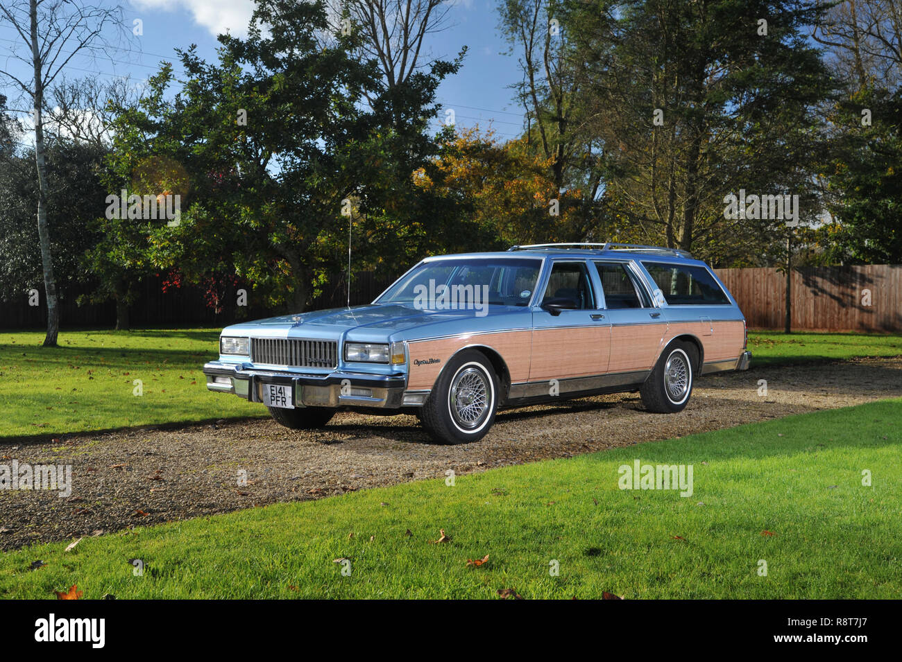 1986 Chevrolet Caprice 'Woody' station wagon, wood trimmed American family estate car - Stock Image