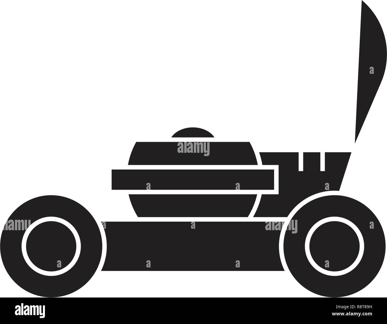 Garden lawnmover black vector concept icon. Garden lawnmover flat illustration, sign - Stock Vector