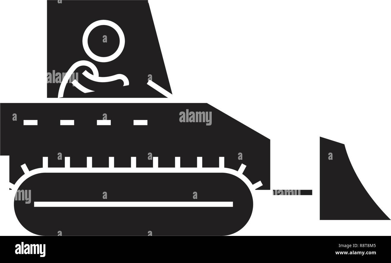 Heavy machinery control black vector concept icon. Heavy machinery control flat illustration, sign - Stock Vector