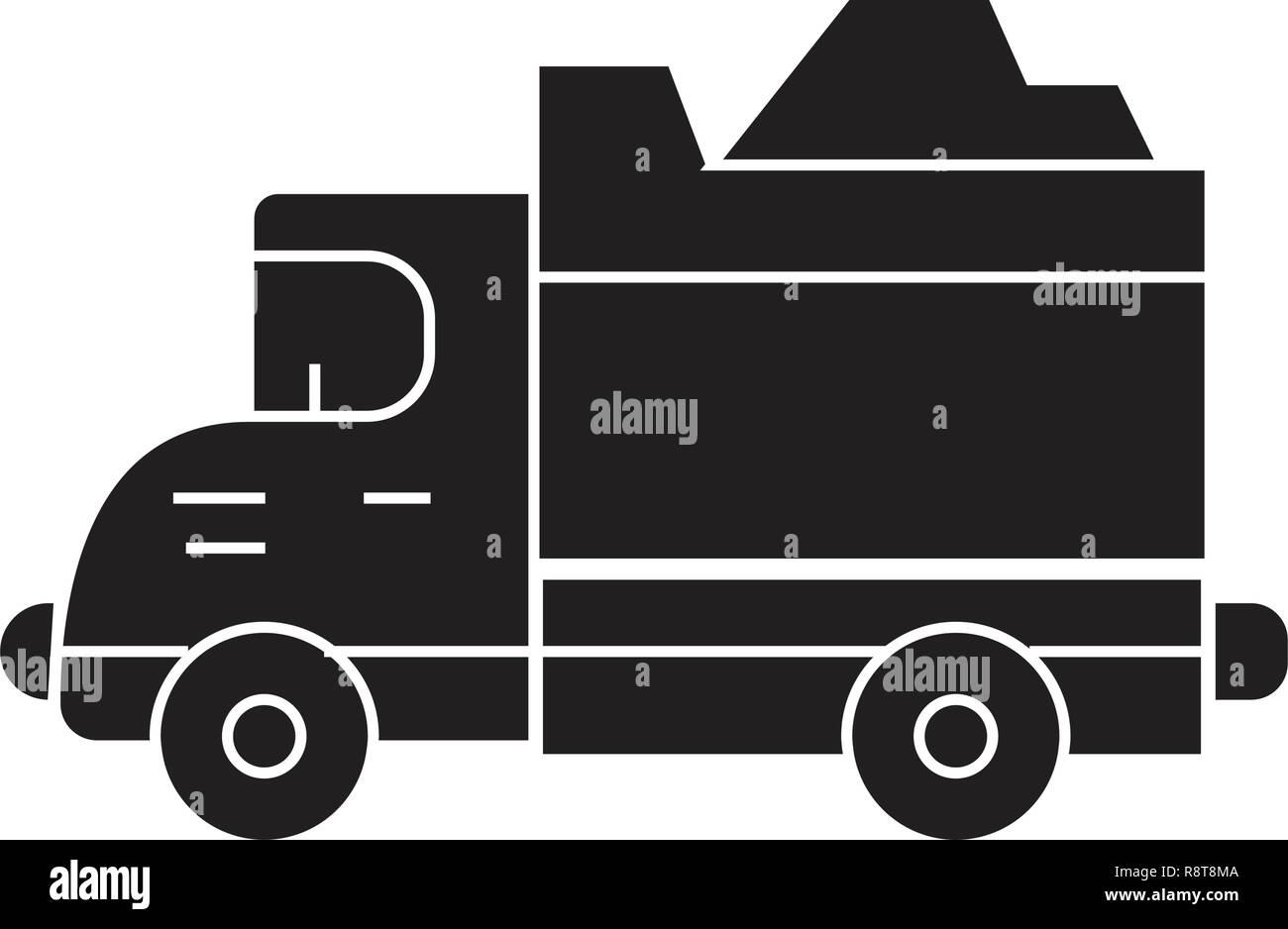 Heavy truck black vector concept icon. Heavy truck flat illustration, sign - Stock Vector