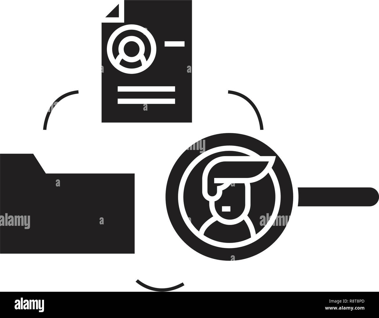 Human resourse database black vector concept icon. Human resourse database flat illustration, sign - Stock Vector