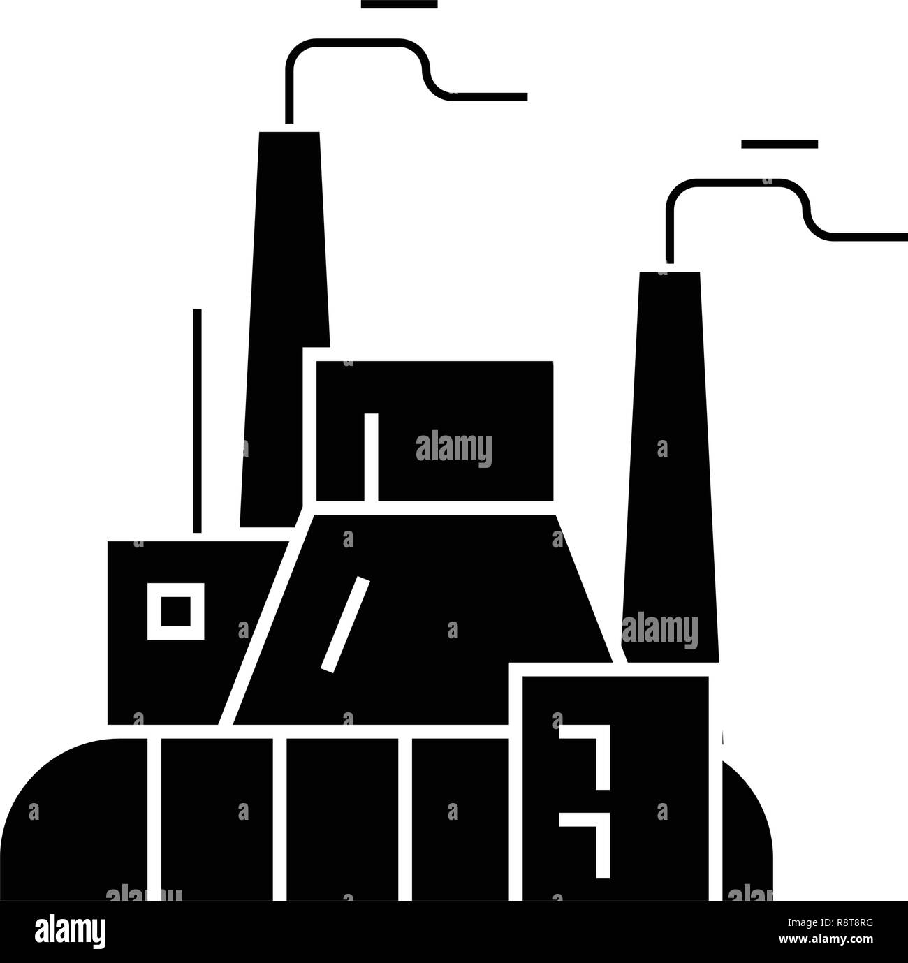 Industrial factory, power plant black vector concept icon. Industrial factory, power plant flat illustration, sign - Stock Image