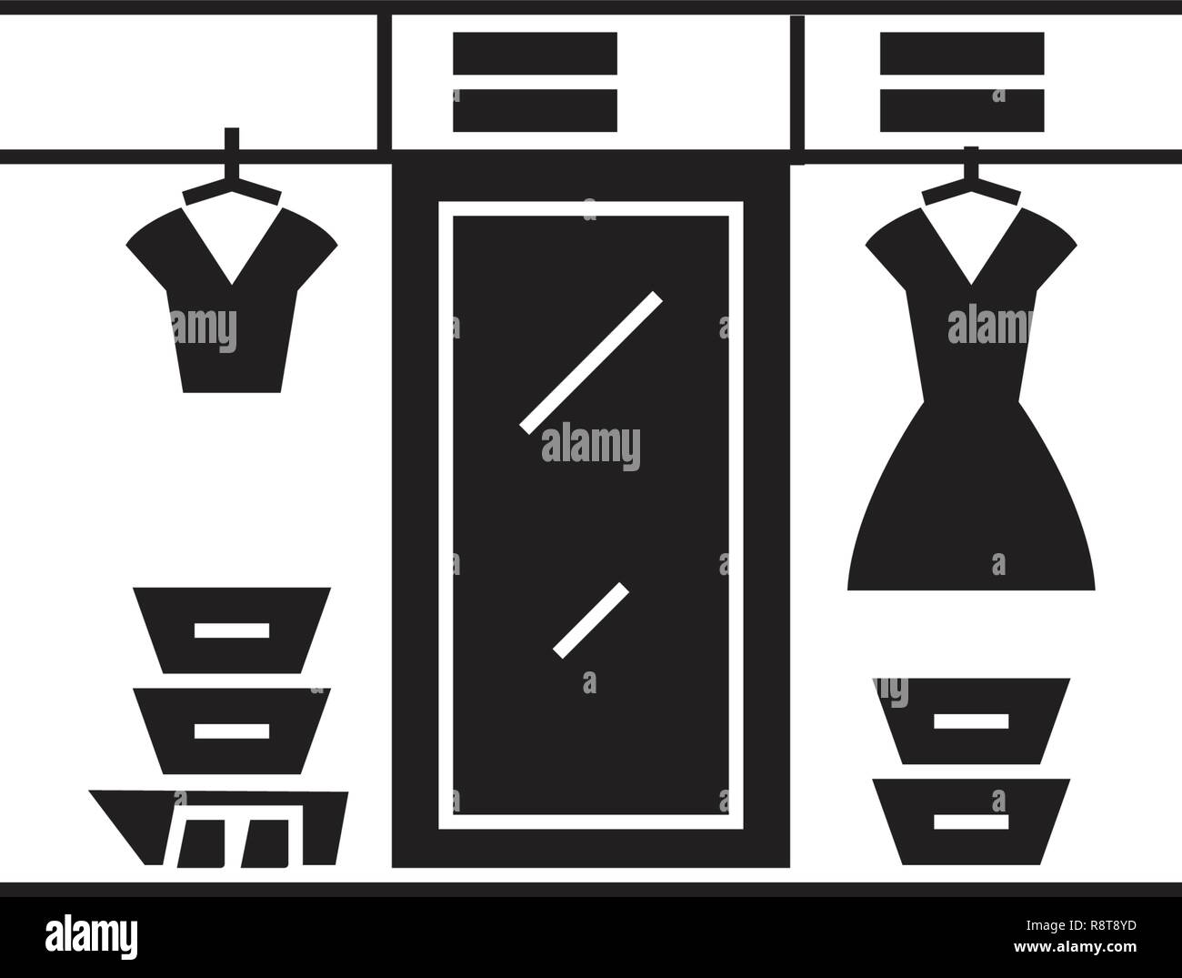 Large wardrobe black vector concept icon. Large wardrobe flat illustration, sign - Stock Vector