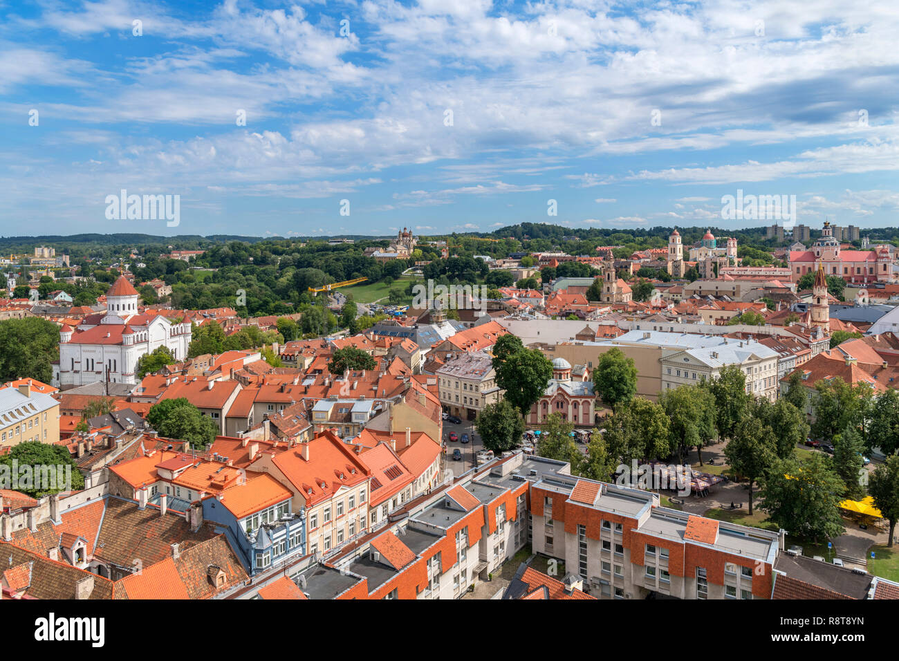 View over the Old Town from St Johns Church bell tower, Vilnius University, Vilnius, Lithuania - Stock Image
