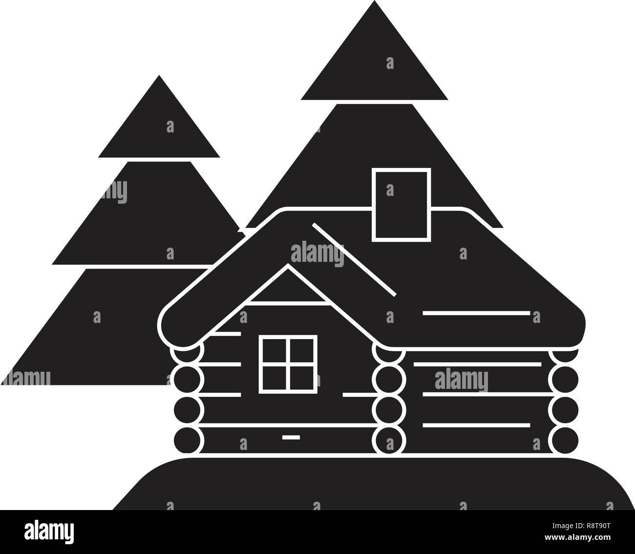 Log cabin black vector concept icon. Log cabin flat illustration, sign - Stock Vector