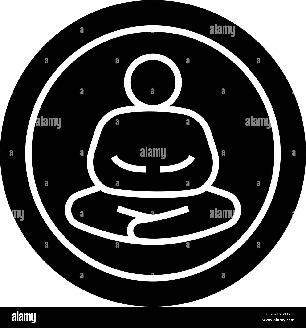 Meditation pose black vector concept icon. Meditation pose flat illustration, sign - Stock Vector