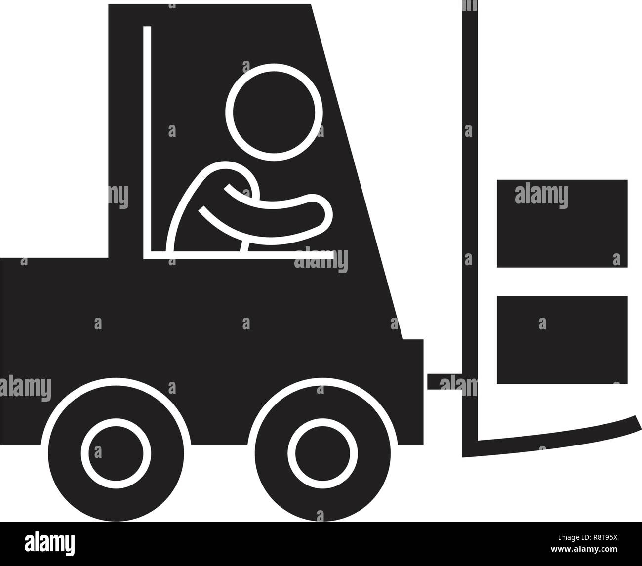 Mighty forklift black vector concept icon. Mighty forklift flat illustration, sign - Stock Vector