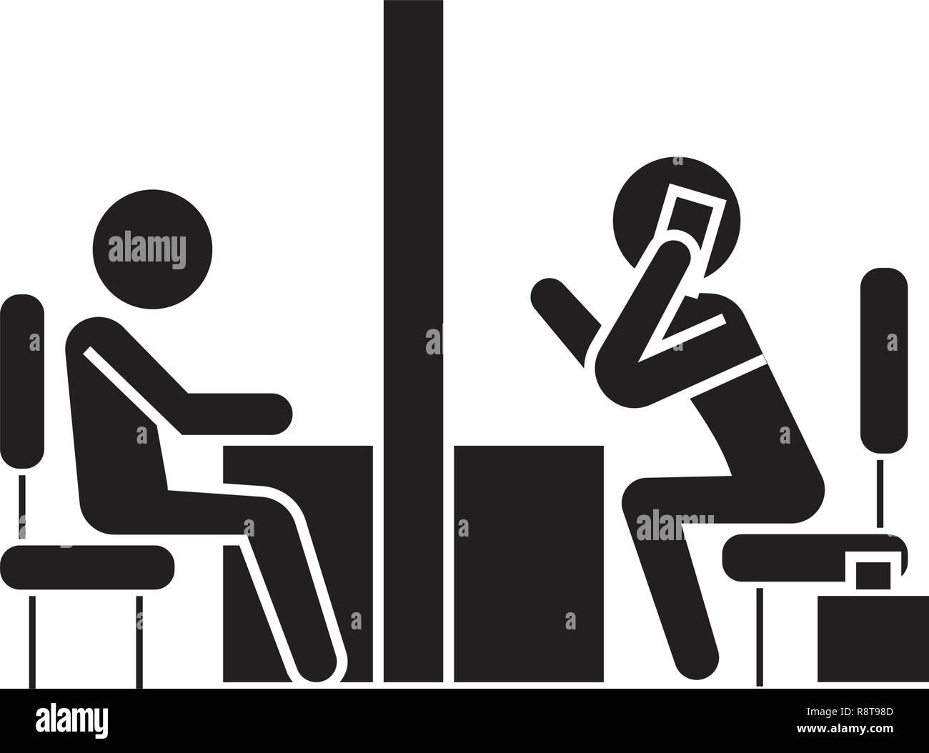 Negotiation room, coworking office black vector concept icon. Negotiation room, coworking office flat illustration, sign - Stock Image